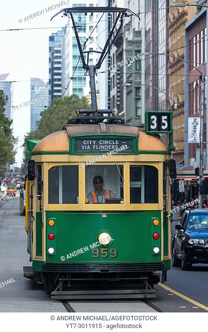 Traditional Trams in Melbourne city centre, Victoria, Australia