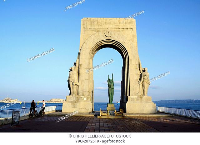 Monument aux Morts d'Orient and Bay of Marseille France