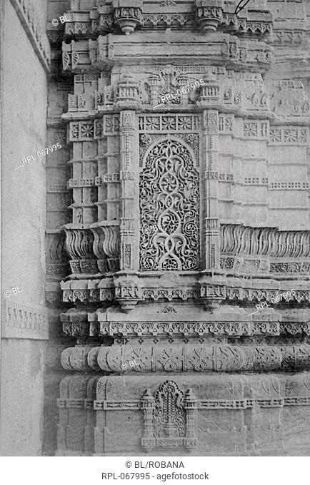 Detail of carved work of panels in the minarets of the Nagina Masjid, Champaner. Image taken from Archaeological Survey of India Collections: India Office...