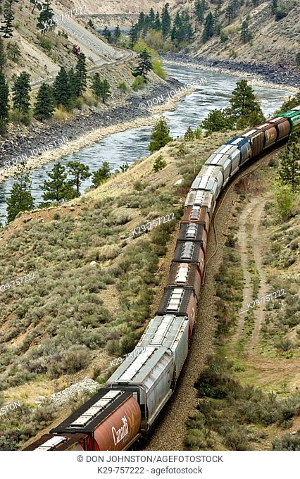 Thompson River Canyon with moving freight train