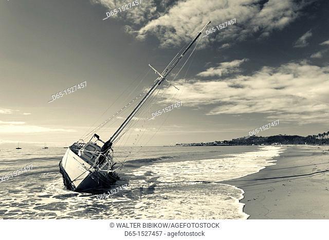 USA, California, Southern California, Santa Barbara, storm wrecked yacht, East Beach