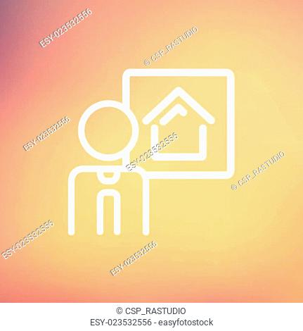 Real estate agent speech thin line icon