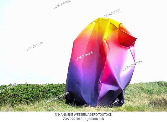 Rainbow sculpture at the beach of Scheveningen, The Hague, The Netherlands, Europe