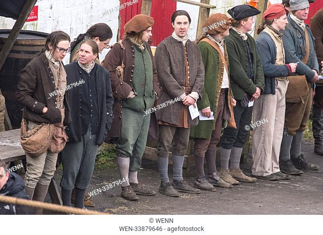 Outlander film crew and actors are spotted filming at a harbour in Dunure Scotland for Season 4. Featuring: Atmosphere Where: Dunure