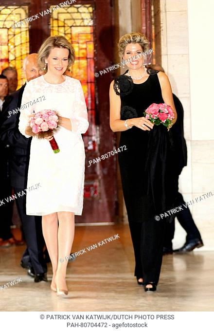 Brussel, 25-05-2016 HM Queen Máxima and HM Queen Mathilde HM Queen Máxima attends at the invitation of HM Queen Mathilde one of the final nights of the Queen...