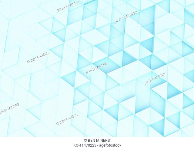 Brightly lit abstract full frame triangle pattern