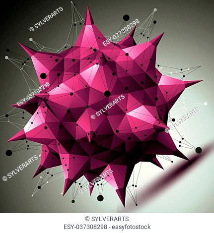 Colorful asymmetric 3D abstract object with connected lines and dots, purple geometric form with lattice structure