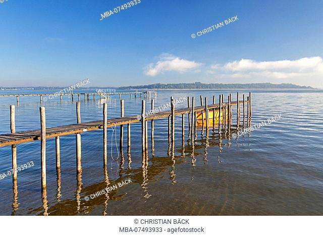 jetty at Chiemsee in Felden, Bernau, Chiemgau, Upper Bavaria, Bavaria, Southern Germany, Germany, Europe