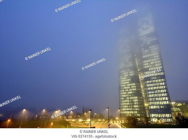 DEU , GERMANY : The European Central Bank ( ECB ) in Frankfurt in fog , 08.12.2015 - Frankfurt, Hesse, Germany, 08/12/2015