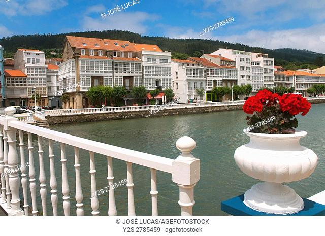 Urban view with river Condomiñas, Cedeira, La Coruña province, Region of Galicia, Spain, Europe