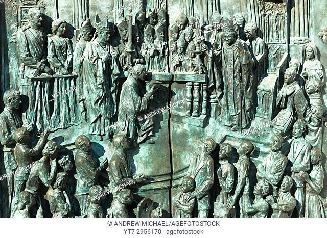 Almudena Cathedral, Santa María la Real de La Almudena. Detail of bronze doors at entrance. Madrid, Spain