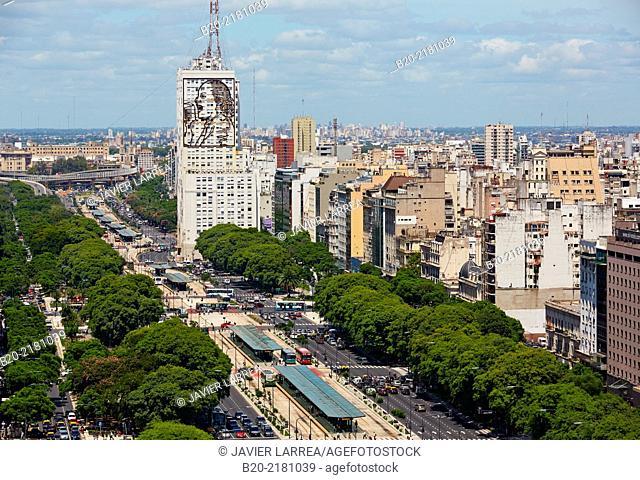 Evita Peron at the facade of the ministry of public works. Avenida 9 de Julio. Buenos Aires. Argentina