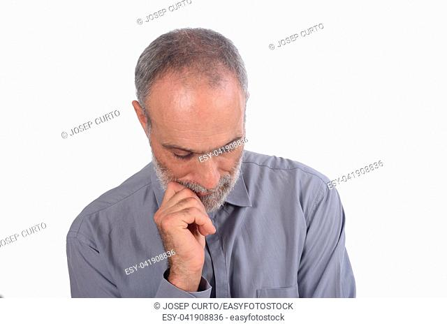 thinking middle-aged man with shirt and white background