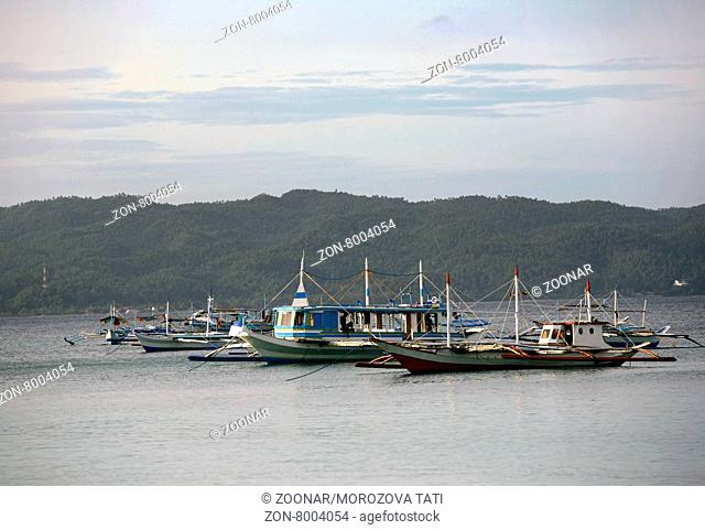 Boats at ocean. Philippines. Island Boracay