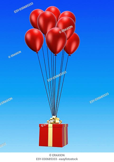 3d rendered illustration of red gift hanging on balloons