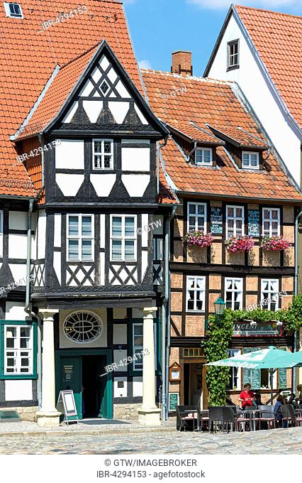Half-timbered houses, UNESCO World Heritage Site, Quedlinburg, Harz, Saxony-Anhalt, Germany