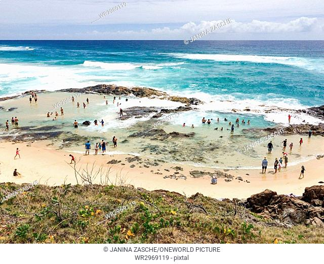 Australia, Queensland, Fraser Island, Bathers in the Champagne Pools