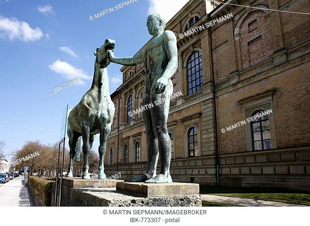 Statue, Rossebaendiger-Gruppe by Hermann Hahn in front of the Alte Pinakothek art museum, Munich, Bavaria, Germany