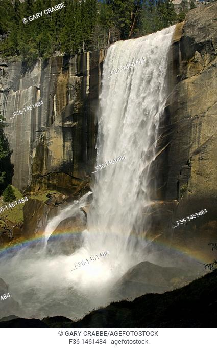 Rainbow at the base of Vernal Fall waterfall, Yosemite National Park, California
