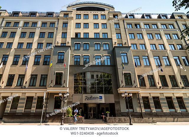Kyiv, Ukraine - June 18, 2011: Radisson Blu Hotel Kyiv is located in the secure embassy area - Yaroslaviv Val Street. Take advantage from the proximity of the...