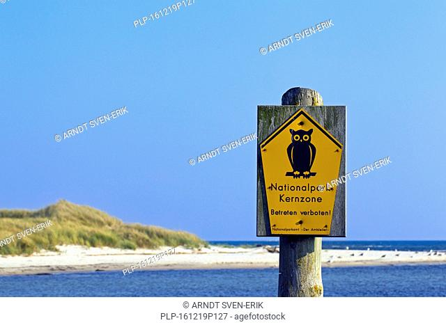 No admittance sign at the Western Pomerania Lagoon Area National Park, Mecklenburg-Western Pomerania, Germany