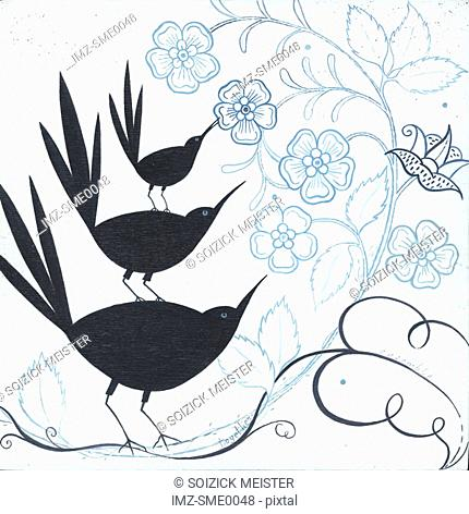 Three black birds standing on top of one another