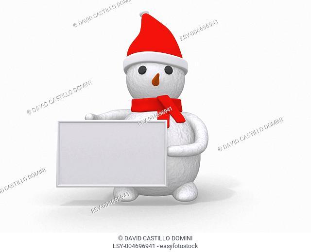 snowman with Santa Claus hat