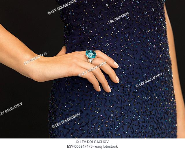 wedding, bridal, jewellery and luxury concept - picture of beautiful woman with cocktail ring