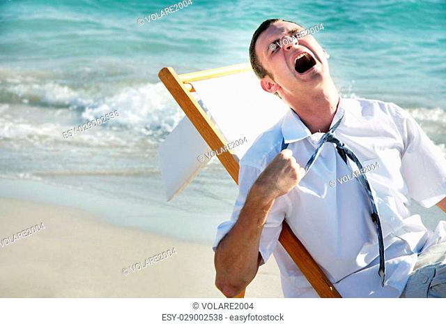 tired businessman on sea background