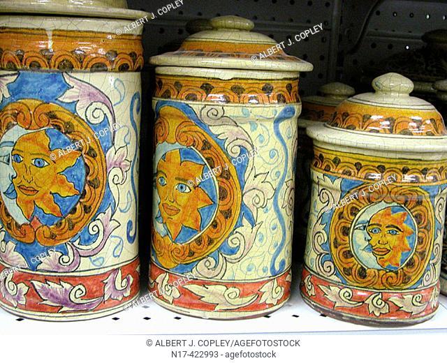 Mexico, sun-moon symbols, jars with lids