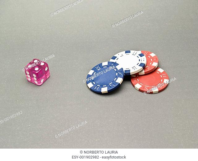 dice and casino chips