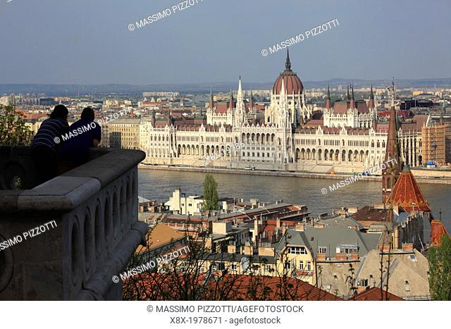 Hungarian Parliament House seen from Fisherman's Bastion, Budapest, Hungary