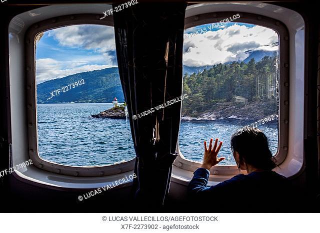 Ferry between Fodnes and Mannheller, Sognefjorden, Sogn og Fjordane, Norway