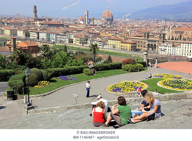 View from Piazza Michelangelo over the city, Firenze, Florence, Tuscany, Italy, Europe