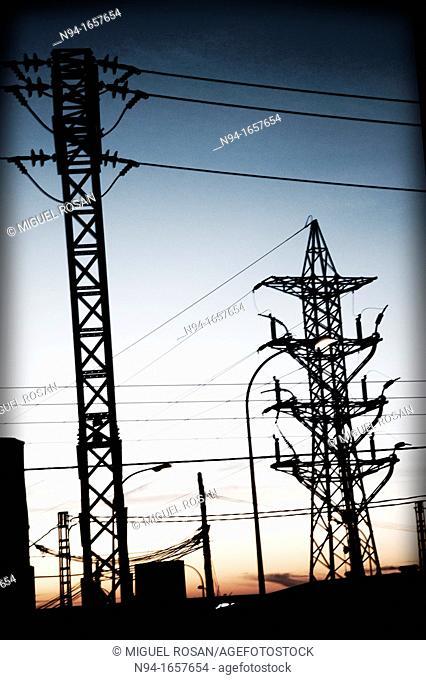 Electricity Pylons, La Canyada residential area, Valencia, Spain