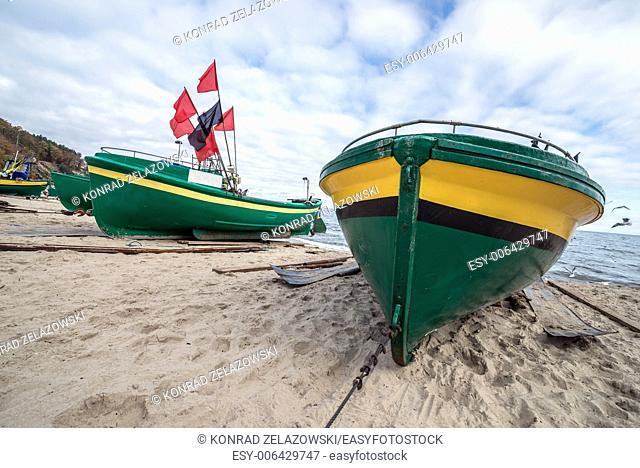 Fishing boats on Baltic Sea beach in Karlikowo District in Sopot, Poland