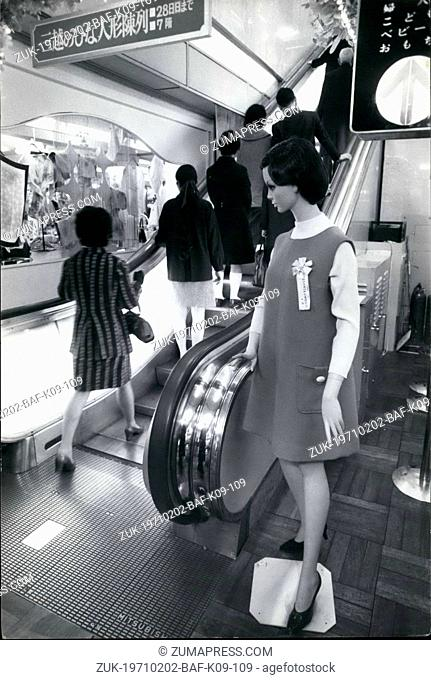 Feb. 02, 1971 - Dummies Replace 'Welcome Girls'. Ever since Tokyo department stores installed escalators, pretty girls in smart uniforms were stationed at the...