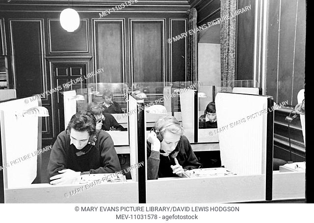 Schoolboys working in the language laboratory at Atlantic College (United World College of the Atlantic), St Donat's Castle, Llantwit Major, Glamorgan