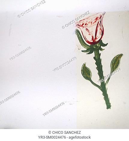A rose is painted in the Basilica of Our Lady of Guadalupe, Mexico City, Mexico