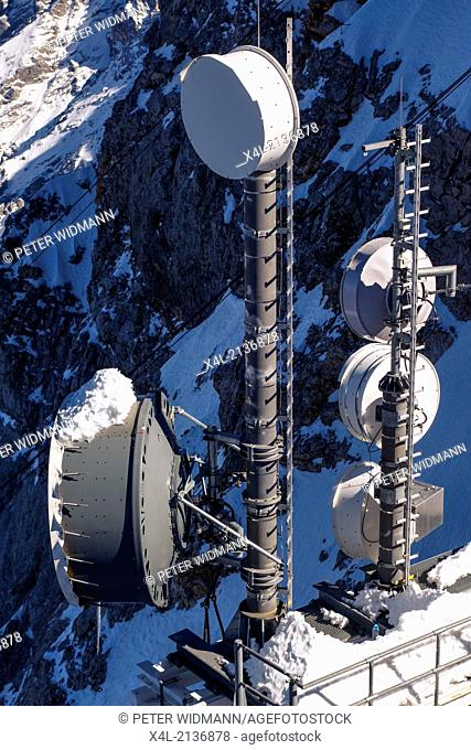 Antenna tower, transmitters and gauges on the Austrian part of Zugspitze, the district of Reutte, Tirol, Austria, Europe