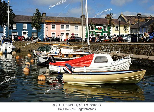 Boats moored in Aberaeron harbour, wales