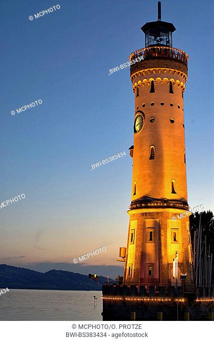 lighthouse in Lindau at Lake Constance, Germany, Bavaria, Lindau