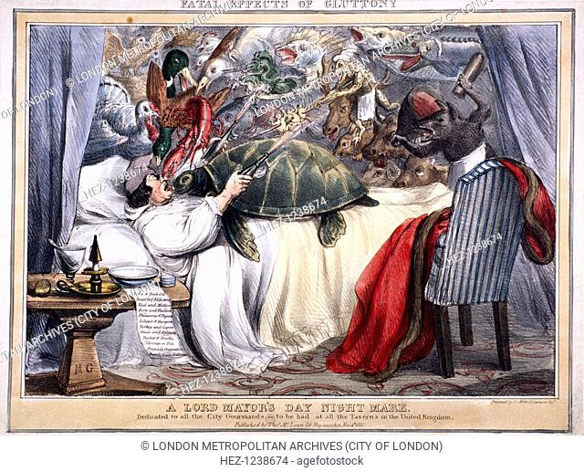 'Fatal effects of gluttony, a Lord Mayor's Day night mare', 1830; depicting an alderman asleep in bed. On top of him is a crowd of animals including a turtle