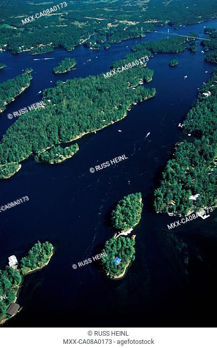 Aerial of Thousand Islands, Ontario, Canada