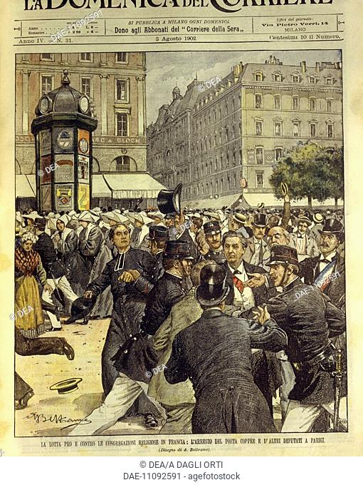 France, 20th century - Struggle in favour and against religious congregations in France. Cover illustration from La Domenica del Corriere