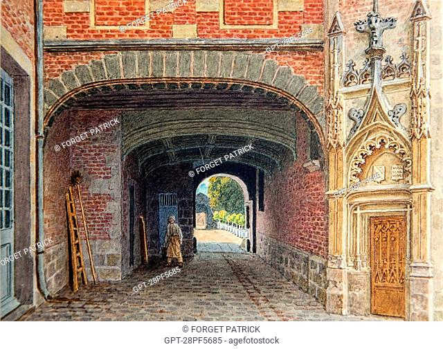 COLOR ENGRAVING OF THE CHATEAU CIRCA 1850, EURE-ET-LOIR (28), FRANCE, OBLIGATORY MENTION: PRIVATE COLLECTION OF MR RAINDRE
