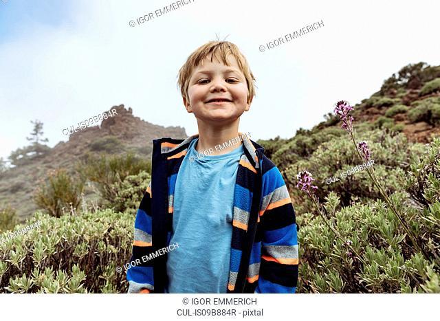 Portrait of cute boy at Mount Teide, Tenerife, Canary Islands