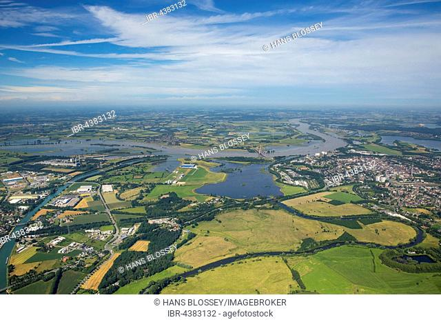 Aerial view, Rhine floods at the Lippe estuary, Niederrhein, North Rhine-Westphalia, Germany