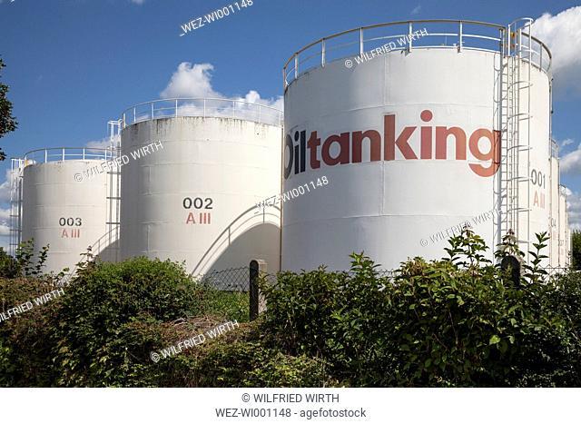 Germany, Baden-Wuerttemberg, Breisach am Rhein, Tank farm, Oil tanks