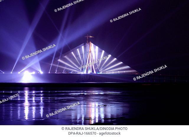 Bandra Worli sealink known rajiv gandhi bridge laser light show on opening day ; Bombay Mumbai ; Maharashtra ; India